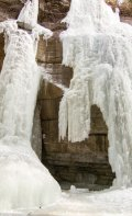 The toe of that frozen water fall is about the height of an average person!