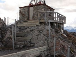 The old Sulphur Mountain Cosmic Ray station you will find at the summit.