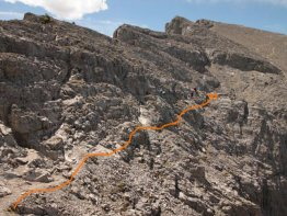 The trail is pretty evident after the crux once you walk closer.