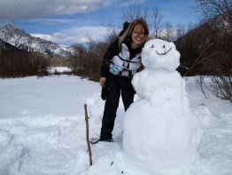 Angelica with her newly created snowman!