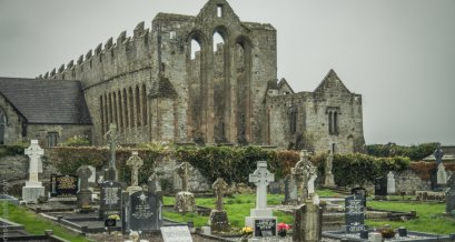 Collection of headstones at Ardfert Cathedral