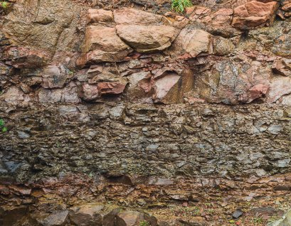 Layers of rock visible at Eldgos & Frumskogur