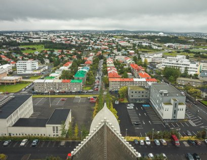 View of Reykjavik from the Hallgrimskirkja cathedral