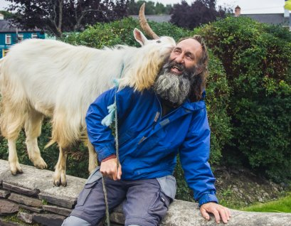 John and the mountain goat in Inchinaleega