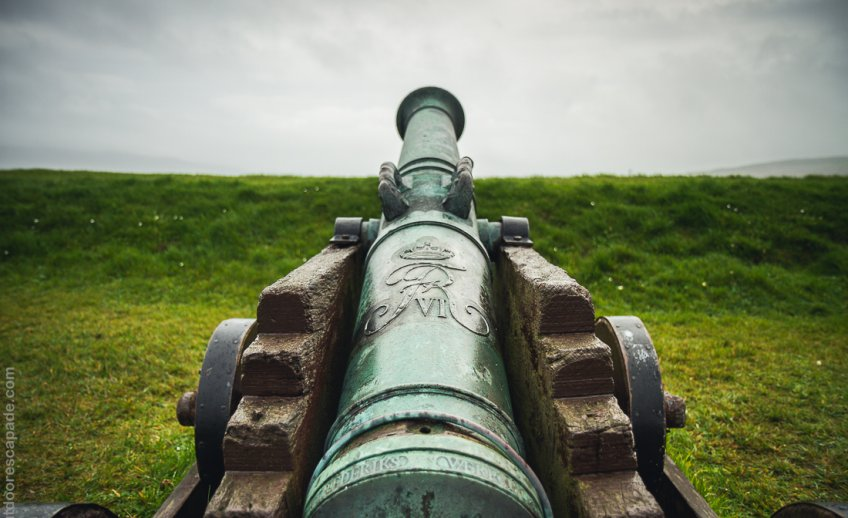 An old cannon at the Skansin fortress in Tórshavn.