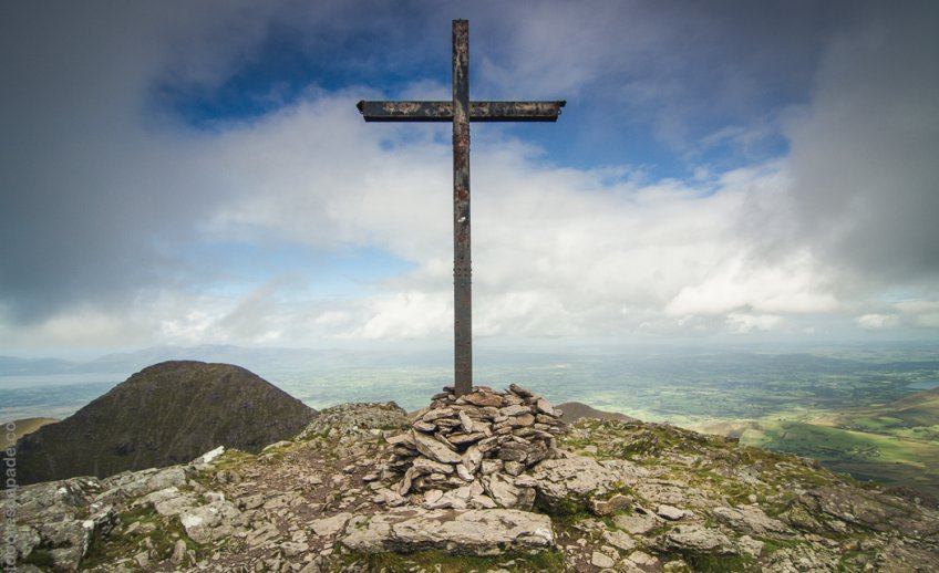 The steel cross at the summit of Carrauntoohil